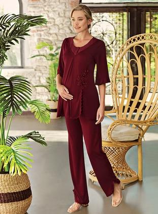 Maroon - Crew neck - Pyjama Set - Artış Collection