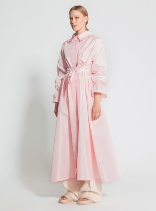 Pink - Unlined - Point Collar - Trench Coat