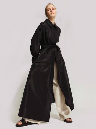 Black - Unlined - Point Collar - Trench Coat