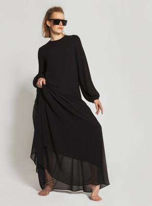 Black - Crew neck - Fully Lined - Modest Dress