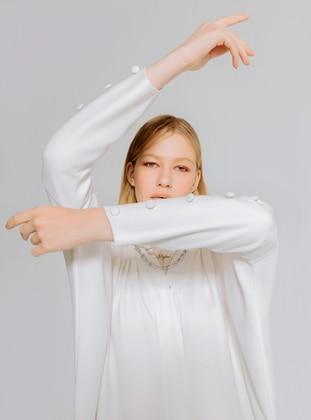 White - Unlined - V neck Collar - Abaya