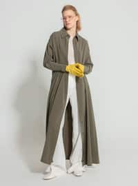 Khaki - Point Collar - Unlined - Modest Dress