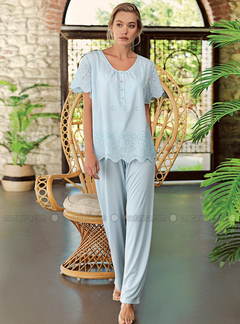 Blue - Crew neck - Pyjama Set