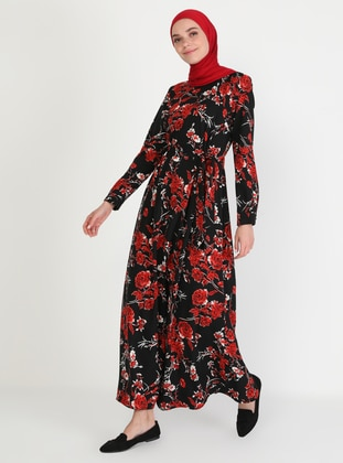 Red - Floral - Crew neck - Unlined - Modest Dress