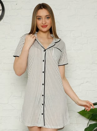 Gray - Stripe - Shawl Collar - Nightdress