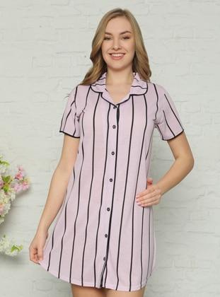 Pink - Stripe - Shawl Collar - Nightdress