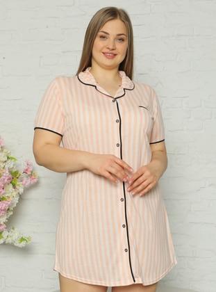 Orange - Stripe - Shawl Collar - Nightdress