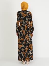 Orange - Floral - Crew neck - Unlined - Modest Dress