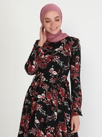 Cherry - Floral - Crew neck - Unlined - Modest Dress