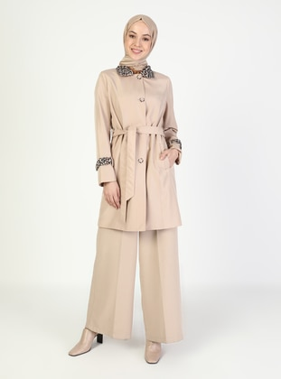 Camel - Leopard - Fully Lined - V neck Collar - Trench Coat