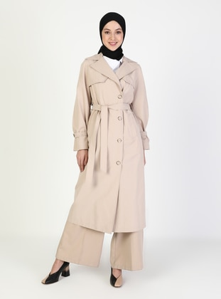 Beige - Unlined - V neck Collar - Trench Coat