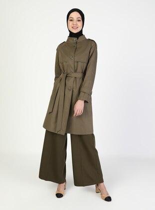 Khaki - Unlined - V neck Collar - Trench Coat