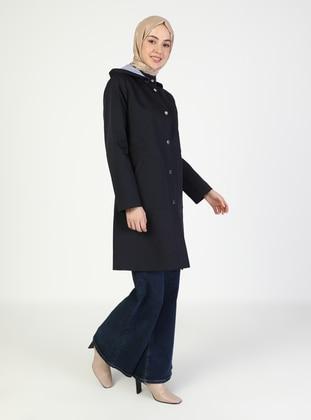 Navy Blue - Fully Lined - V neck Collar - Trench Coat