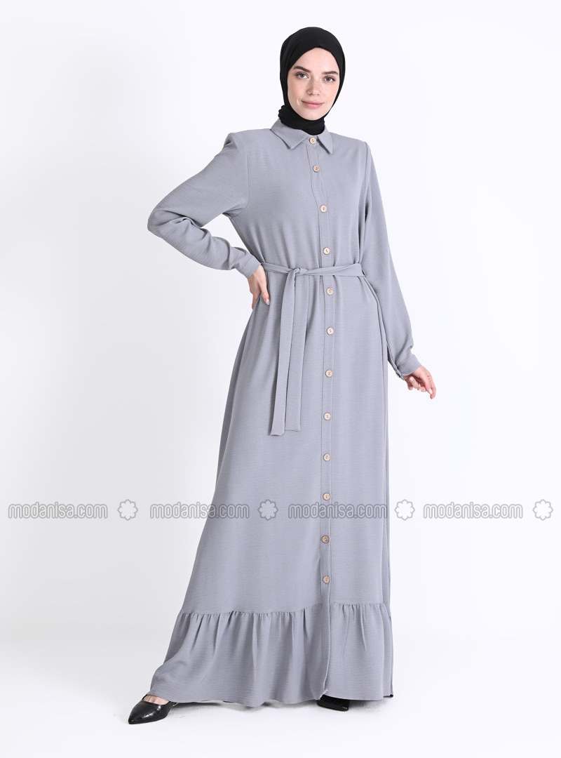 Gray - Unlined - Point Collar - Abaya