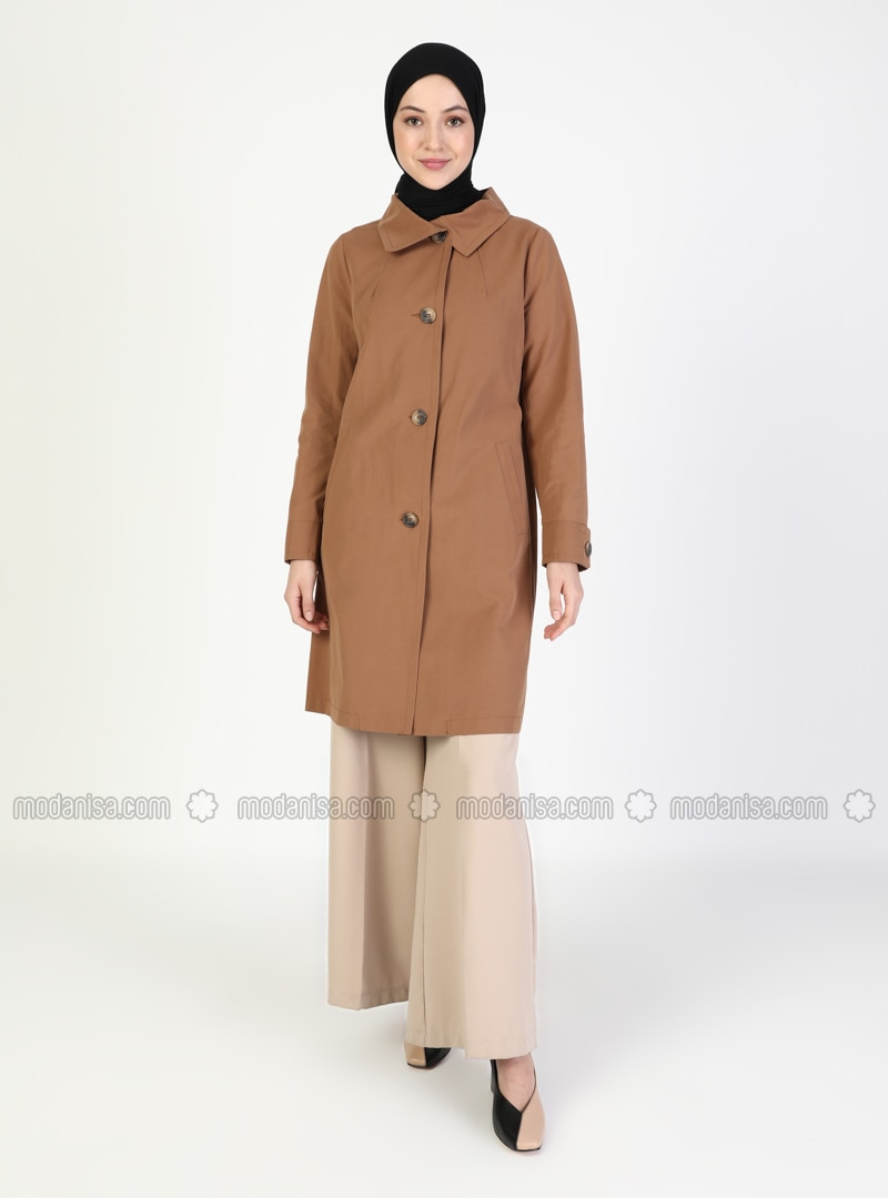 Camel - Unlined - V neck Collar - Trench Coat