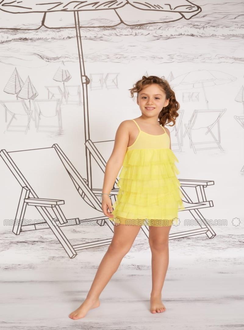 Unlined - Yellow - Girls` Swimsuit