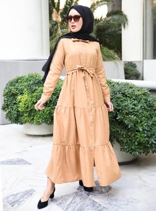 Camel - Point Collar - Unlined - Modest Dress