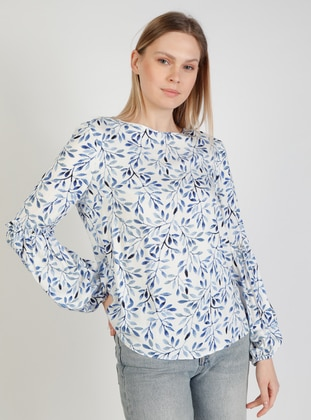 White - Floral - Crew neck - Blouses - Fashion Light