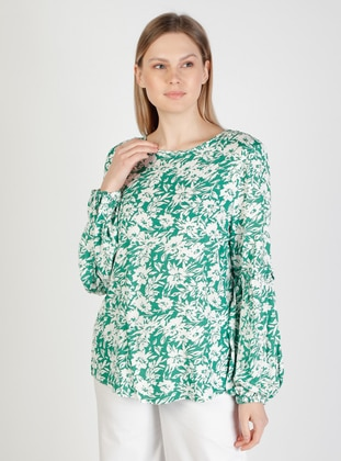 Green - Floral - Crew neck - Blouses