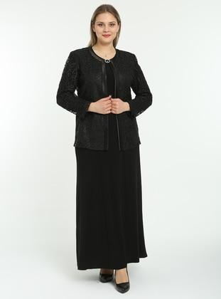 Unlined - Black - Multi - Crew neck - Evening Suit - Arıkan