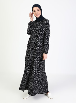 Navy Blue - Multi - Crew neck - Unlined - Modest Dress