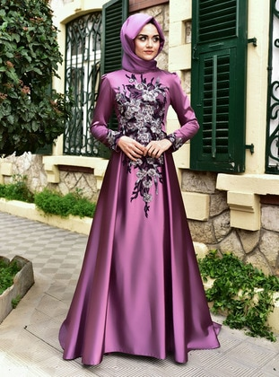 Plum - Fully Lined - Crew neck - Modest Evening Dress