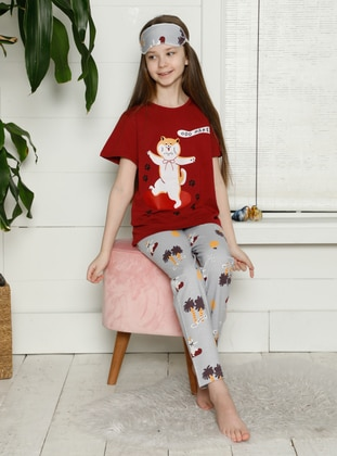 Crew neck - Maroon - Girls` Pyjamas - Akbeniz Kids