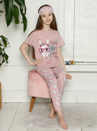 Crew neck - Salmon - Girls` Pyjamas
