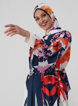 Navy Blue - Orange - Multi - Unlined - V neck Collar - Abaya