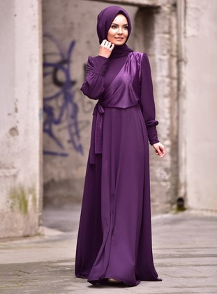 Plum - Fully Lined - Crew neck - Modest Evening Dress