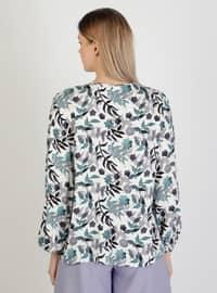 White - Floral - Crew neck - Blouses