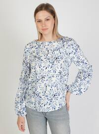 White - Floral - Crew neck - Blouses