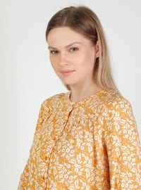 Mustard - Floral - Crew neck - Blouses