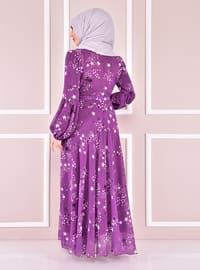 Purple - Modest Evening Dress
