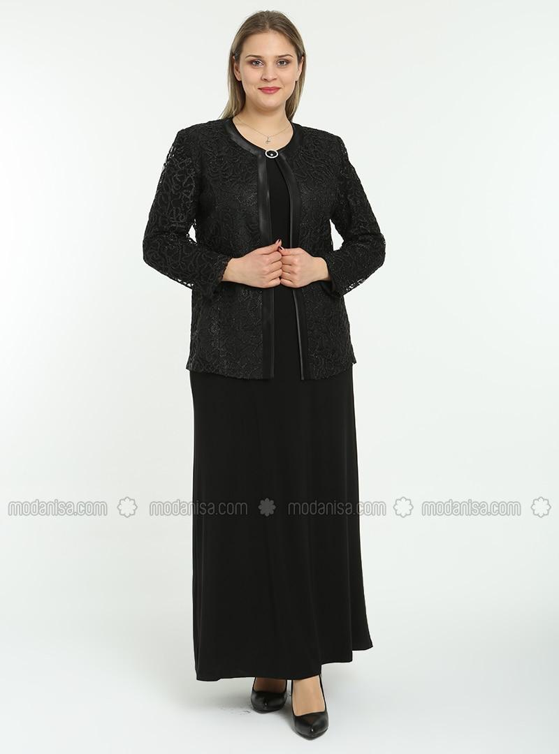 Unlined - Black - Multi - Crew neck - Evening Suit