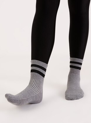 Gray - Socks - AKBENİZ