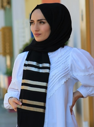 Black - Striped - Plain - Cotton - Shawl