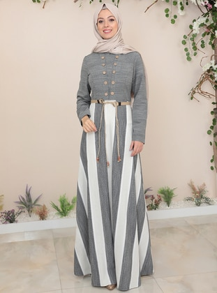 Anthracite - Stripe - Crew neck - Fully Lined - Modest Dress