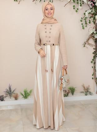 Camel - Stripe - Crew neck - Fully Lined - Modest Dress