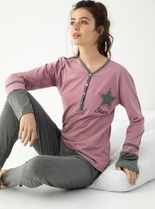 Lilac - Crew neck - Multi - Pyjama Set