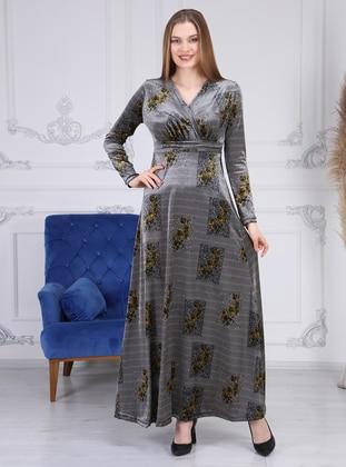 Gray - Multi - V neck Collar - Unlined - Modest Dress