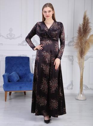 Black - Multi - V neck Collar - Unlined - Modest Dress