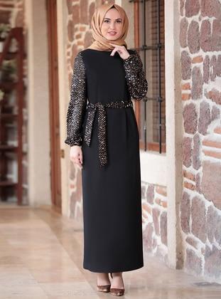 Gold - Black - Unlined - Crew neck - Modest Evening Dress