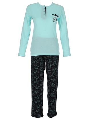 Green - Crew neck - Multi - Pyjama Set
