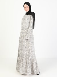 Cream - Floral - Crew neck - Unlined - Modest Dress