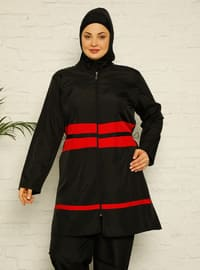Black - Stripe - Fully Lined - Plus Size Swimsuit