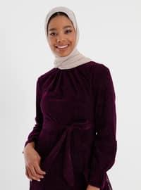 Purple - Multi - Crew neck - Fully Lined - Modest Dress