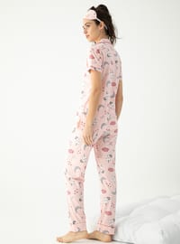 Powder - V neck Collar - Multi - Pyjama Set