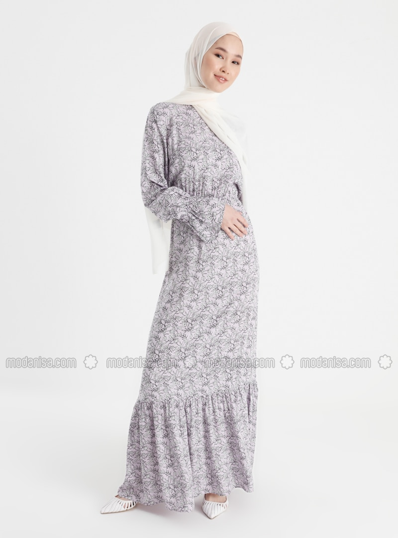 Lilac - Floral - Crew neck - Unlined - Modest Dress