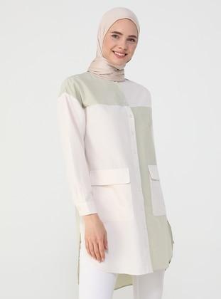 Ecru - Green - Button Collar - Tunic